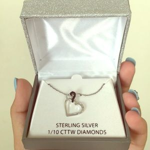 Sterling silver Two hearts Necklace